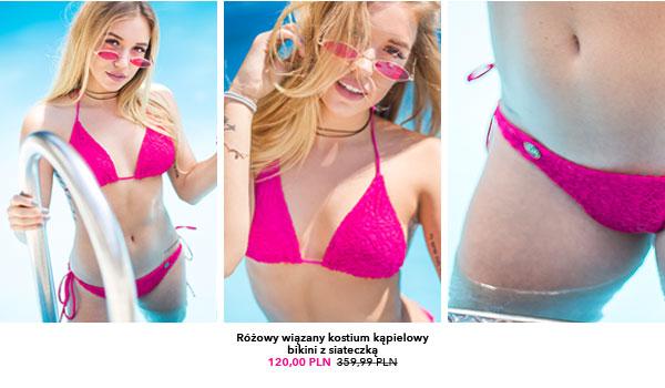 Różowy wiązany kostium kąpielowy bikini z siateczką